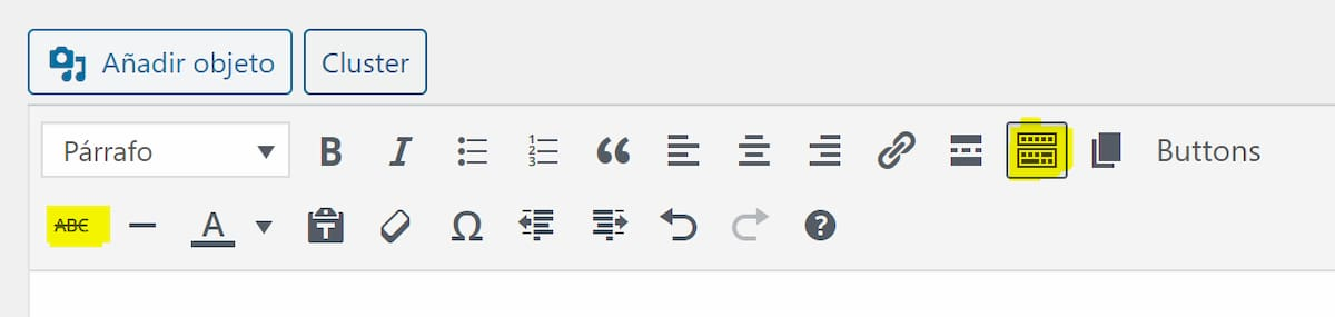 Opción de tachar texto en el editor de WordPress