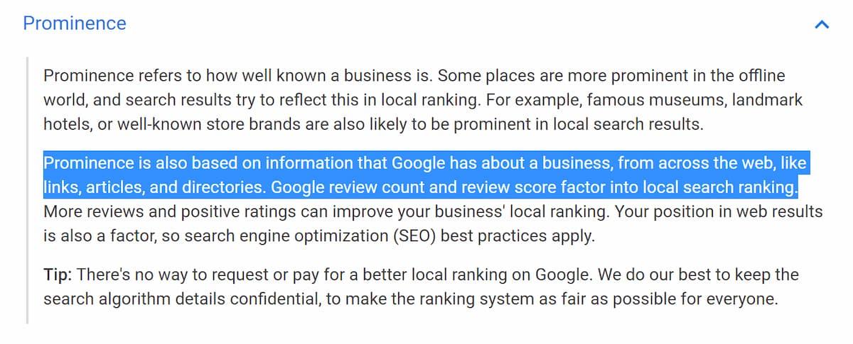 Prominencia según Google